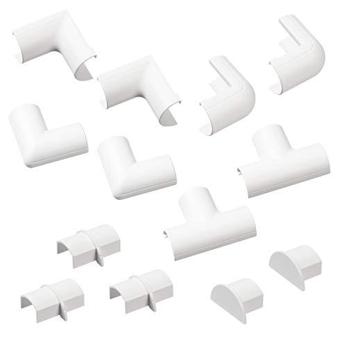 D-Line Micro+ Kabelkanal Clip-Over Verbindungsstücke Multipack | Aufsteckbare Verbindungsstücke | Verbinden Sie mehrere 20x10mm Kabelkanäle | 13-teiliges Kabelkanal Zubehör Set - Weiß