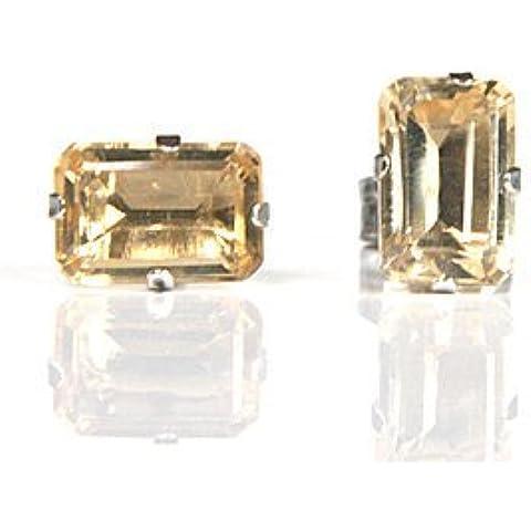 9ct oro bianco taglio smeraldo Madeira Citrino Orecchini