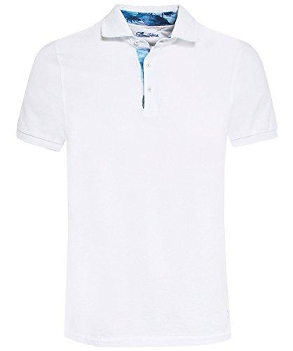 Stenstroms Herren Pique-Kontrast-trim-Polo-shirt Weiß XXL (Polo Kontrast Trim)