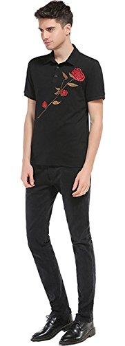 Sportides Herren Casual Dots Lapel Printing Short Sleeve Polo Shirt T_Shirt Tops JZA074 JZA083_Black