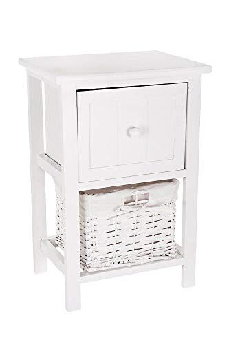FiNeWaY @ vollständig montiert Weiß Shabby Chic Nachttisch Einheit Tisch W Weidenkorb verstauen Badezimmer Schlafzimmer -