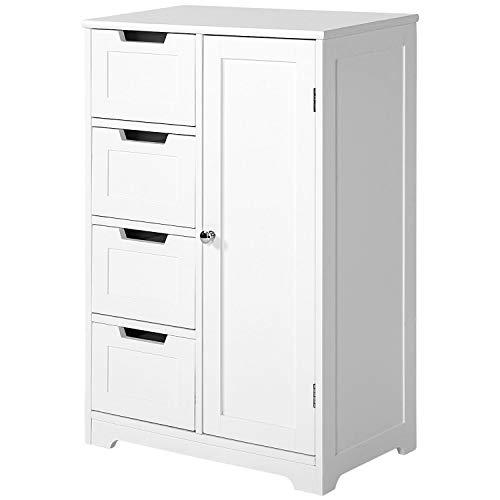 ModernLuxe Sideboard Badezimmerschrank Badschrank Wohnzimmerschrank aus Holz Beistellschrank Kommode mit 4 Schubladen Schranktür Verstellbare Regalebene weiß