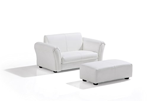 WHITE PU LEATHER LAZYBONES KIDS TWIN SOFA Chair/Seat/Armchair/Sofa for Children/Childs