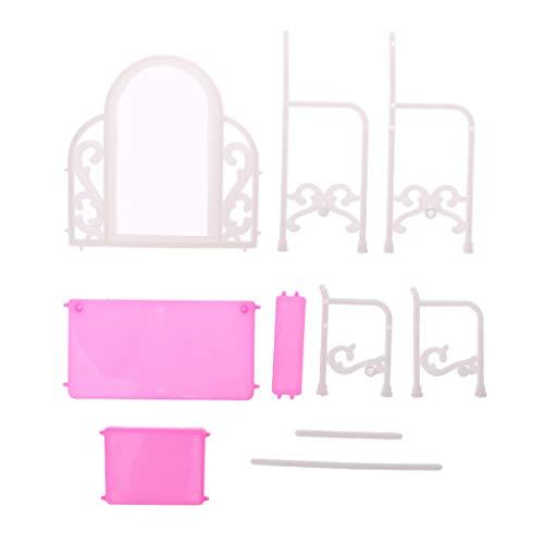 WDTong1 Satz Puppe Kommode Mit Stuhl Make-Up Schreibtisch Spiegel Nette DIY Möbel Puppenhaus Heim Spiele Kinderspielzeug Kosmetik Schlafzimmer Mädchen Geschenke Puppen Zubehör Dekoration