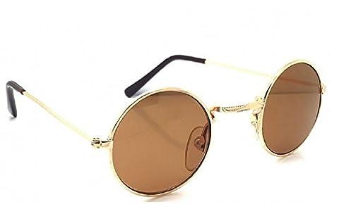 (Brown) Sonnenbrillen Hippie Runde Modell Jhon Lennon Männer Frauen Unisex polarisierte UV400