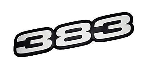 VMS Racing 383 SILVER on BLACK Highly Polished Aluminum EMBLEM