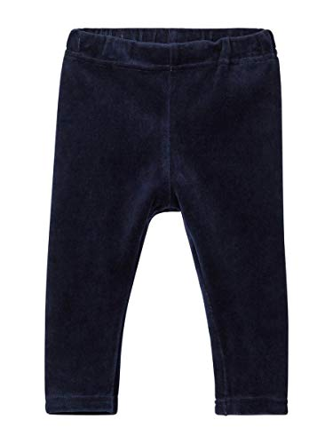 Baumwoll-velours Leggings (NAME IT Baby Mädchen Legging, Velour-Legging SERITA in Dark Sapphire, Größe:86)