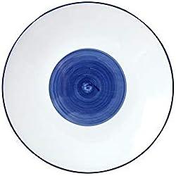 Nordic Alta Temperatura Pintado A Mano Color De Fondo Vajilla De Cerámica Vajilla Hotel Creative Western Dish Home Dish Blanco 19X2.2Cm