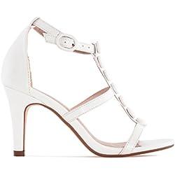 Andres Machado - Zapatos con Tacón Mujer, Color Blanco, Talla 44 EU
