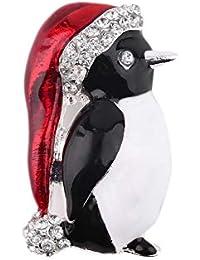 SalomeKK Cristal Rhinestone Corazón Árbol de Navidad Guirnalda Muletas Cadena Pingüino Esquí Muñeco de Nieve Broche Pin Bufanda Hebilla Deco