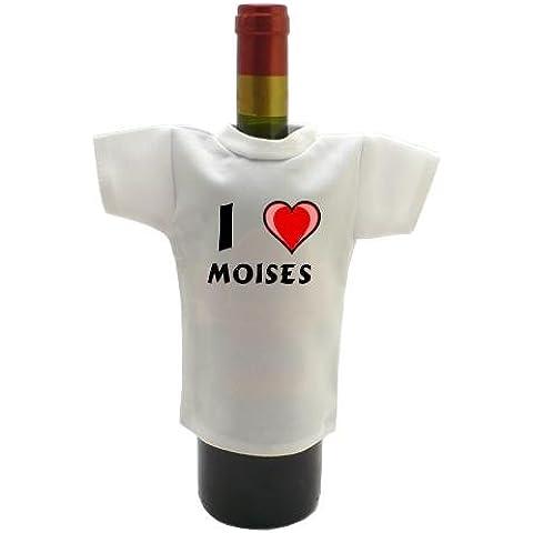 Camiseta blanca para botella de vino con Amo Moises (nombre de pila/apellido/apodo)