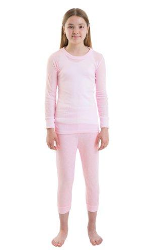 Girls-Thermal-Set-Long-Sleeve-Vest-Long-Pants-White-Or-Pink-Various-Sizes