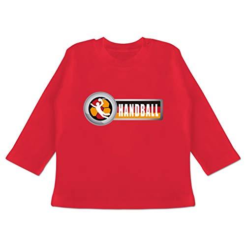 Handball WM 2019 Baby - Handball Deutschland 2-6-12 Monate - Rot - BZ11 - Baby T-Shirt Langarm
