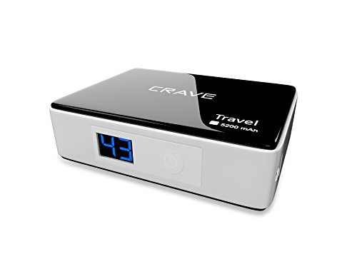 Crave® Travel 5200mah Ultra-compact Portable Charger External Battery Power Bank for Apple Iphone 5s, 5c, 5, 4s, 4, 3gs, 3g, 2g, Ipod, Itouch, Nano, Classic, Samsung Galaxy S5, S4, S3, Ipod, Itouch, Note 3, Nexus 4, HTC One, One 2 (M8), Nokia Lumia 520, 1020, Most Other Smartphones, Mp3 Players - Black