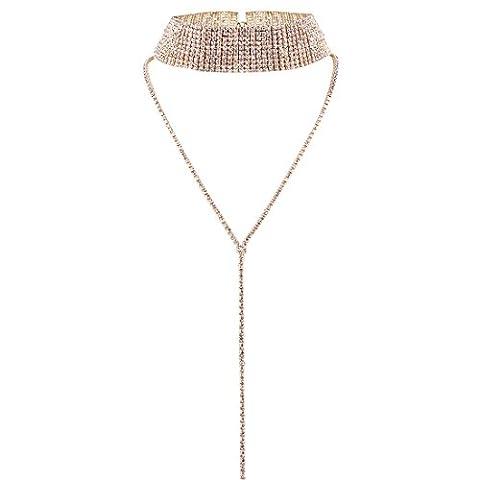 Tpocean Mädchen Damen Mode Multi Row kristall Choker Halskette Voll Strass Pullover Halskette Y-Form Lange Kette Anhänger Hochzeit Party Prom Halsband Halskette Schmuck,Rose Gold