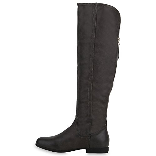 Stiefelparadies Klassische Gefütterte Stiefel Damen Schuhe Veloursleder-Optik Winterschuhe Schnallen Blockabsatz Winter Boots Flandell Grau Zipper
