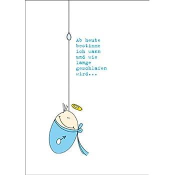 Lustige hellblaue Gratulationskarte zur Geburt eines ...
