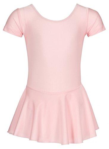 """tanzmuster Kinder Ballettanzug Ballett Trikot """"Marina"""" aus glänzendem Lycra mit kurzen Ärmeln und angenähtem Röckchen. Hübsches Ballettkleid mit rundem Ausschnitt in rosa, weiß und schwarz"""