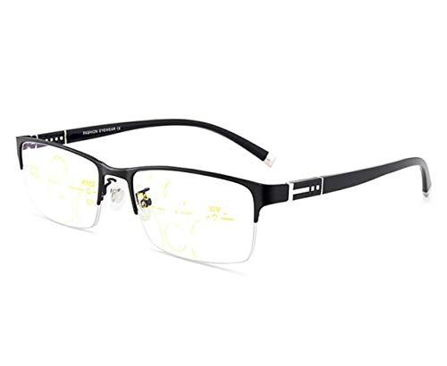 GKKXUE Gafas Inteligentes de Lectura con Zoom Macho lejos y Cerca de Doble Uso Gafas de Lectura Anti-Azul de Alta definición Espejo de Doble luz de Foco múltiple (Color : Negro, Tamaño : +1.00)