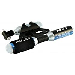XLC - Bomba de CO2 con soporte para bicicleta y 3 cartuchos de CO2