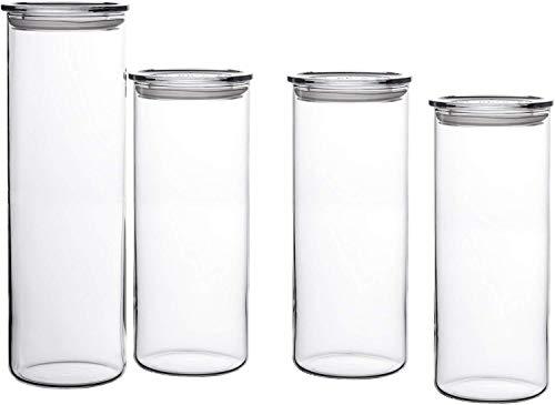 Bohemia Cristal 093 006 041 SIMAX Vorratsgläser aus hitzebeständigem Borosilikatglas, 4er Set (1 Stück : 1,8 L / 3 Stück : 1,4 L) mit Kunststoffdeckel klar