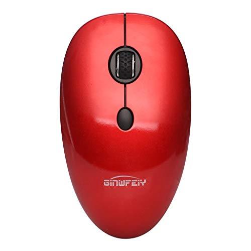 samLIKE Kabellos Maus Silent Mouse Bluetooth Funkmaus Leise Wireless Mäuse 1600DPI Wiederaufladbare Optischer Laser Computermaus mit USB Nano Empfänger, für PC, Laptop, MacBook, Home (Rot) - Wiederaufladbare Bluetooth Laser Maus
