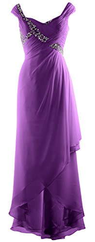 MACloth Elegant V Neck High Low Mother of Bride Dress Maxi Chiffon Formal Gown Amethyst