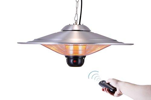 GREADEN - Infrarot-Hängeheizstrahler SATURN - Mit Fernbedienung und LED-Lampe - Terrassenheizstrahler - GR2RT3