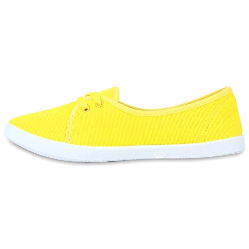 Klassische Damen Ballerinas | Sportliche Stoffschuhe | Slipper Flats | Sneakers Slip-ons | viele Farben Gelb