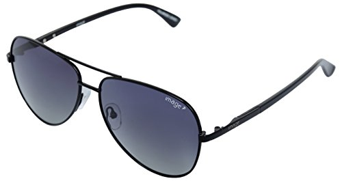 Image Polarized Aviator Unisex Sunglasses - 543|58 mm|Black Lens