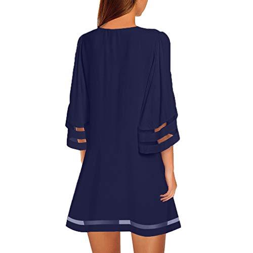 AZZRA Damen V-Ausschnitt Mesh Panel Bluse 3/4 Bell Ärmel Loose Top Shirt Kleid Damen Elegant Spitzenkleid Brautjungfer Partykleid Festliches Chiffon Faltenrock Langes Etui Shirt Kleider - Panel V-ausschnitt Kleid