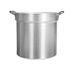 Pentole Agnelli Professional Aluminium 3 Mm. Cylindrical Colander with 2 Handles, Diameter 45 cm, Silver