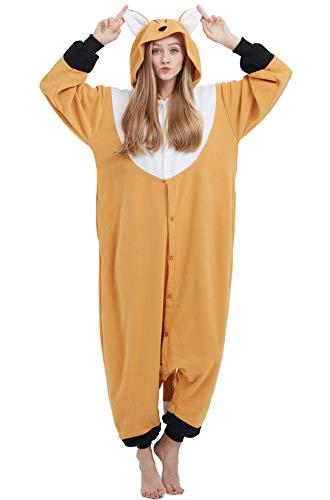 Jumpsuit Onesie Tier Karton Fasching Halloween Kostüm Sleepsuit Cosplay Overall Pyjama Schlafanzug Erwachsene Unisex Lounge, Orange Fuchs, Erwachsene Größe M - für Höhe 156-167CM