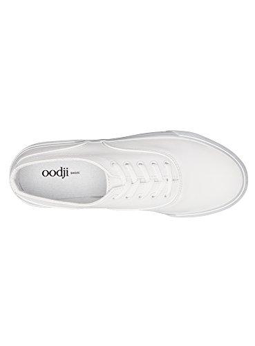 oodji Ultra Damen Sneakers mit Dicker Sohle Weiß (1000N)