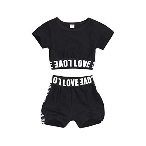 Mädchen Karo-skort (FCQNY Kleinkind Kind Baby Mädchen Kleidung Brief Drucken T-Shirt Tops + Shorts Hosen Outfits Set (Color : Black, Size : 120))