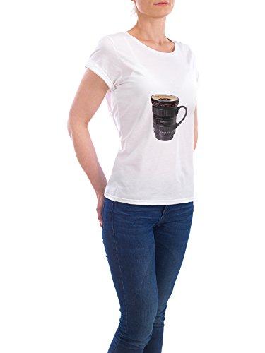 """Design T-Shirt Frauen Earth Positive """"LENS CUP"""" - stylisches Shirt Abstrakt Essen & Trinken von Paul Fuentes Design Weiß"""