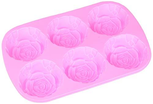 BAKER DEPOT Silikonform für handgemachte Seife, Kuchen, Gelee, Pudding, Schokolade, 6 Cavity Rose Design, 2er Set