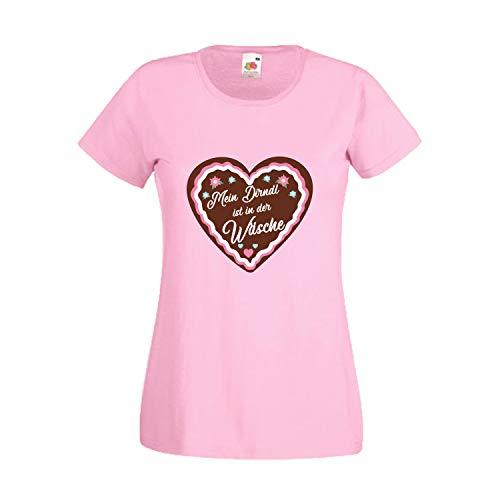 Verkäufer Kostüm Bier - Oktoberfest T-Shirt für Damen mit Motiv -Mein Dirndl ist in der Wäsche- Frauen Tracht Rosa L