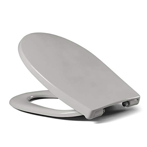 LUVETT WC-Sitz LU-C100 oval mit Absenkautomatik SoftClose® & TakeOff® EasyClean Abnahme, Duroplast Toilettendeckel, Farbe:Manhattan Grau