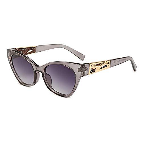 NECCT Metall springen Cheetah Dekoration Mode Cat Eye Sonnenbrille Männer Champagner Shades,Grey ()