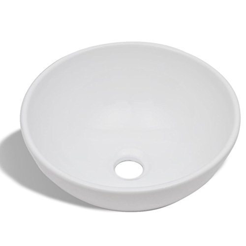 vidaXL Lavabo de Salle de Bain Céramique Rond Blanc Toilette Lave-Mains Vasque
