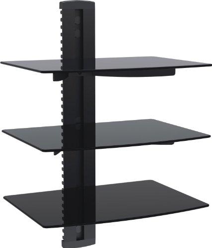 Preisvergleich Produktbild 1home Multimedia Wandregal TV Rack Wandhalterung für DVD Player Glasregal Wandboard mit 3 Glas-Ablagen Sicherheitsglas und Kabelmanagement-System Schwarz
