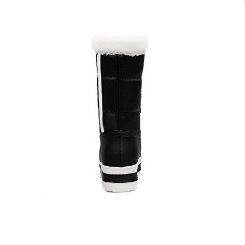AgooLar Damen Rund Zehe Gemischte Farbe Niedrig-Spitze Mittler Absatz Stiefel mit Knoten Schwarz