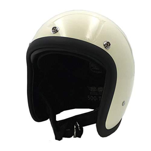 KeRuiLou Casco Moto in Fibra di Vetro Shell Vintage Retro Moto Helmet Ivory M