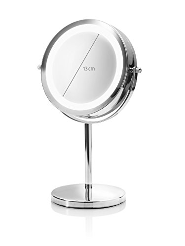 Medisana CM 840 Kosmetikspiegel mit LED Beleuchtung, normal und 5-fache Vergrößerung, 13 cm Durchmesser, 18 LEDs, verchromt - 7