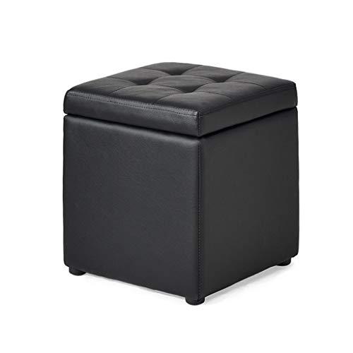 Hölzerne Schwarze Speicher-Schemel-Hocker-Schemel-praktische gepolsterte Fußstütze für Wohnzimmer-Schlafzimmer-einzelner osmanischer Sitz, Max.100KG
