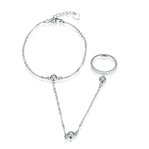 Adisaer Bracciale Donna Argento 925 Finger Ring Slave Catena Regolabile Bacciali con Ciondoli Diamanti