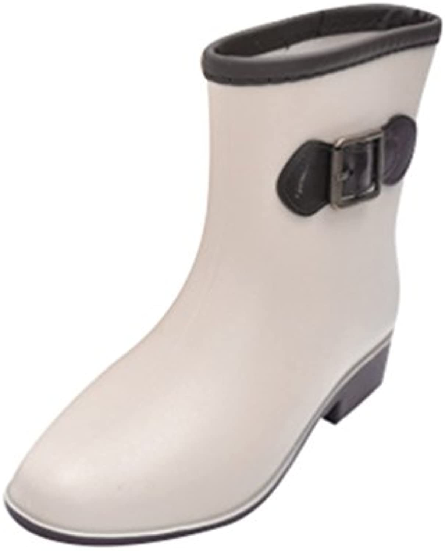 Xinwcang Damen Kurze Gummistiefel Chelsea BootFashionable Reitstiefelette Rain Boots