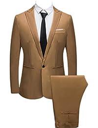 Bibao traje de 2 piezas para hombre, ajustado, con botones, para boda,