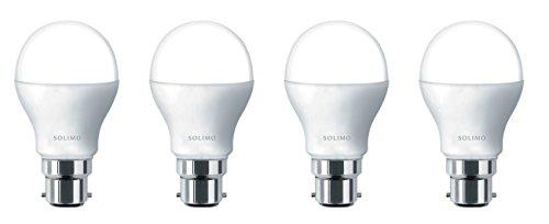 Amazon Brand - Solimo Base B22 9-Watt LED Bulb (Pack of 4, Cool Day Light)
